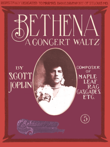 Bethena by Scott Joplin Cover