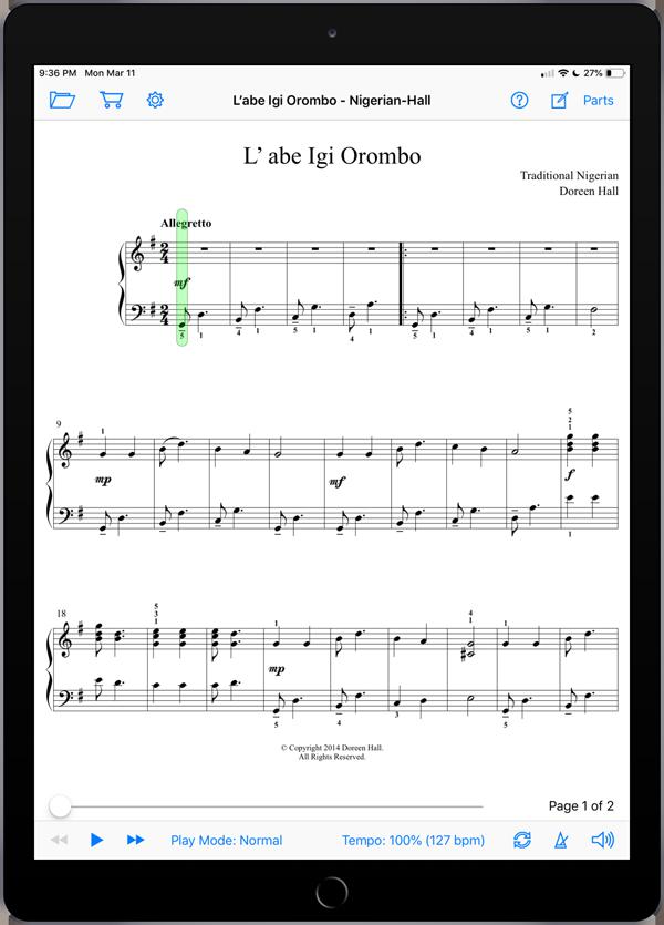 L'abe Igi Orombo arranged by Doreen Hall
