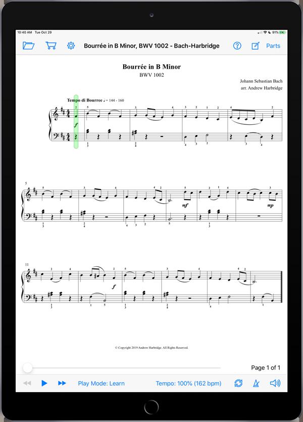 Bourrée in B Minor, BWV 1002 by Bach-Harbridge
