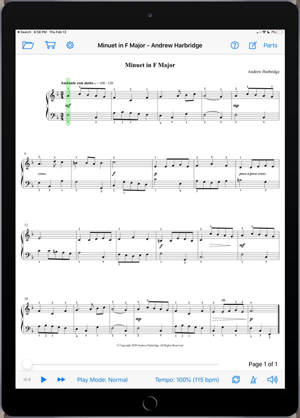 Minuet in F Major by Andrew Harbridge