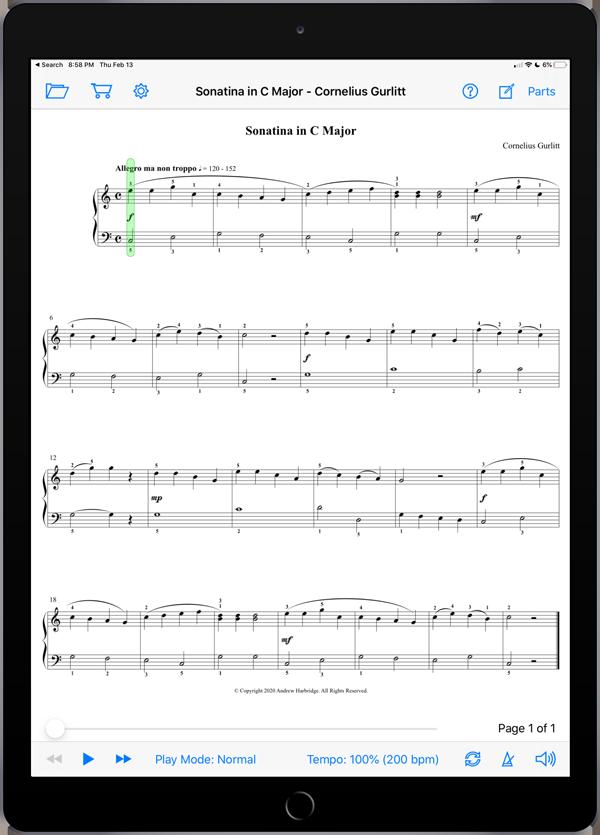 Sonatina in C Major by Cornelius Gurlitt